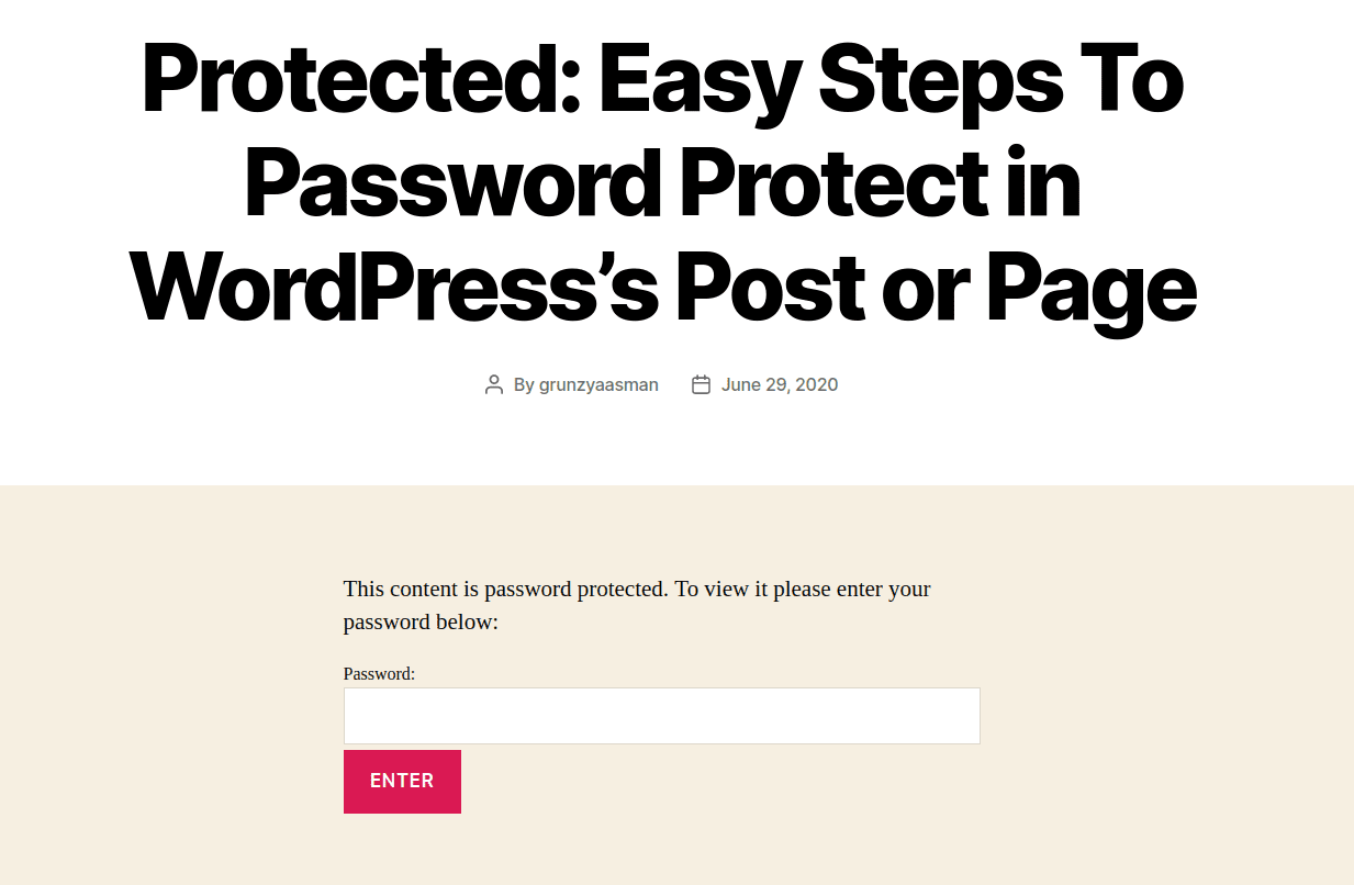 protect password front page