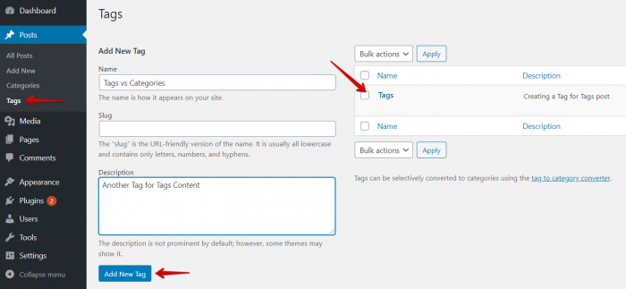 Add Tags From WordPress Dashboard