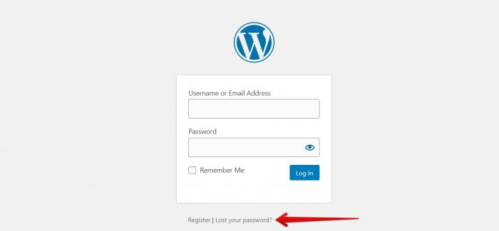 WordPress Login Page to change password