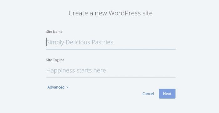 Bluehost Create New WordPress Site