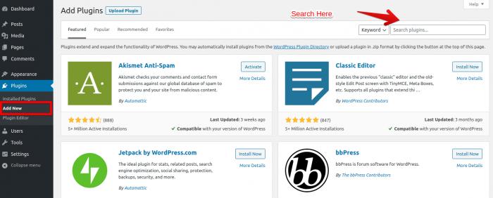 Search and Add New Plugin